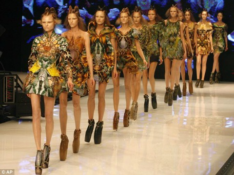 'Paris thin' models walk the Spring 2010 runway at Alexander McQueen