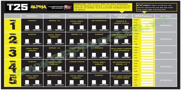The Alpha Workout Calendar