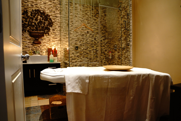 The luxurious and zen treatment room where I received the Body Wrap