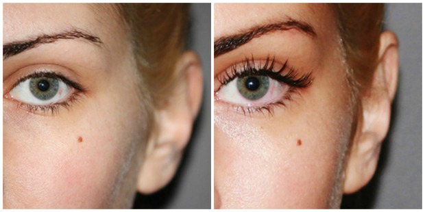 A model before and after eyelash extensions