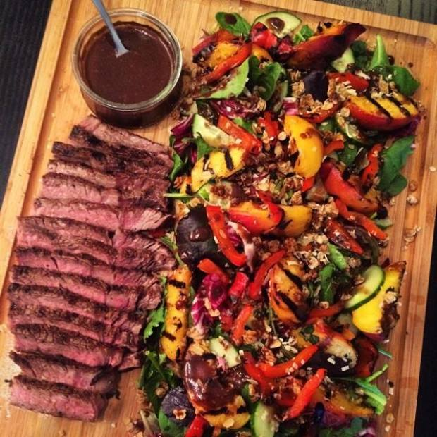 A typical (and ALWAYS delicious) dinner with my fiancé: Dry-aged Ribeye steak salad with grilled peaches, charred peppers, arugula, fresh mint, toasted coconut & granola with chilli-cocoa vinaigrette. See what I mean?