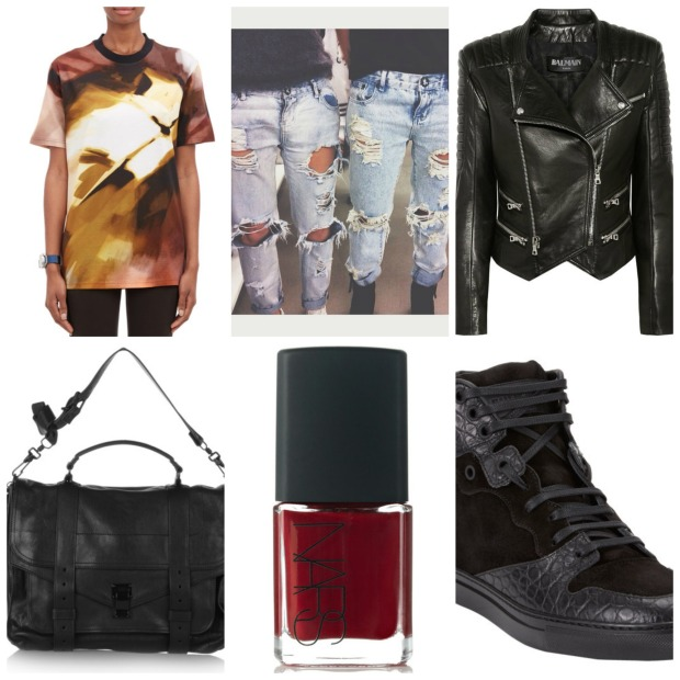 From Top Left, Clockwise: Givenchy Brushstroke T-Shirt, One Teaspoon Awesome Baggies, Balmain Leather Jacket, Proenza Schouler PS1 Bag, Nars Nail Polish in Jungle Red, Balenciaga Croc and Suede High Tops