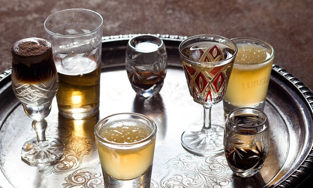 A selection of vodkas at Borscht, Vodka and Tears
