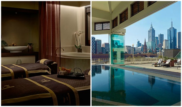 A treatment room; The Chuan Spa's pool and outdoor space